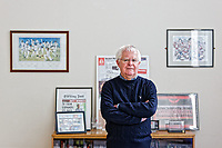 Pictured: Tinopolis director Ron Jones in his office. Wednesday 09 March 2018<br /> Re: The effect that the Scarlets RFC has had in the town of Llanelli in Carmarthenshire and the west Wales region.