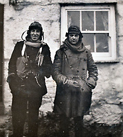 BNPS.co.uk (01202 558833)<br /> Pic: C&T/BNPS<br /> <br /> Thrills and Spills -  GG Speight (left) was based as an RNAS Observer in Cornwall.<br /> <br /> Never before seen photos of the disastrous Gallipoli campaign have come to light over a century later.<br /> <br /> The fascinating snaps were taken by Sub Lieutenant Gilbert Speight who served in the Royal Naval Air Service in World War One.<br /> <br /> They feature in his photo album which covers his eventful war, including a later stint in Egypt.<br /> <br /> There are dramatic photos of the Allies landing at X Beach, as well as sobering images of a mass funeral following the death of 17 Brits. Another harrowing image shows bodies lined up in a mass grave.<br /> <br /> The album, which also shows troops during rare moments of relaxation away from the heat of battle, has emerged for sale with C & T Auctions, of Ashford, Kent. It is expected to fetch £1,500.