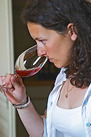 Sylvie Courcelle, daughter to Francis Courcelle, owner and winemaker, tasting a glass of her rose wine Chateau Thieuley La Sauve Majeure Entre-deux-Mers Bordeaux Gironde Aquitaine France