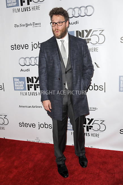 WWW.ACEPIXS.COM<br /> October 3, 2015 New York City<br /> <br /> Seth Rogen attending the 53rd New York Film Festival premiere of 'Steve Jobs' at Alice Tully Hall, Lincoln Center on October 3, 2015 in New York City.<br /> <br /> Credit: Kristin Callahan/ACE Pictures<br /> <br /> Tel: (646) 769 0430<br /> e-mail: info@acepixs.com<br /> web: http://www.acepixs.com