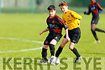 Jack Slattery of St Brendan's Park under pressure from Davis Brennan of Aisling Annacotty in the U13 National Cup in Christy Healy Park on Saturday