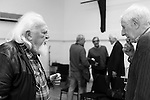"""King Lear"" rehearsed reading rehearsals. Old Vic Theatre. Director: Jonathan Miller. Joss Ackland (L), Jonathan Miller (R)."