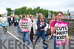 STOP THE CUTS: Health service staff Naomi Sheehan, Geraldine Finnegan and Catherine Leen (front) join colleagues and politicians at the IMPACT protest at Kerry General Hospital on Wednesday over a recruitment embargo in the health service.   Copyright Kerry's Eye 2008