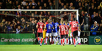 Tempers threaten to boil over after Everton's Gylfi Sigurdsson had scored his sides second goal from the penalty spot<br /> <br /> Photographer Chris Vaughan/CameraSport<br /> <br /> The Carabao Cup Second Round - Lincoln City v Everton - Wednesday 28th August 2019 - Sincil Bank - Lincoln<br />  <br /> World Copyright © 2019 CameraSport. All rights reserved. 43 Linden Ave. Countesthorpe. Leicester. England. LE8 5PG - Tel: +44 (0) 116 277 4147 - admin@camerasport.com - www.camerasport.com