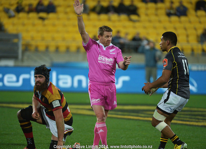 Referee Shane McDermott makes a point to Tau Mamea during the ITM Cup rugby union match between Wellington Lions and Waikato at Westpac Stadium, Wellington, New Zealand on Saturday, 16 August 2014. Photo: Dave Lintott / lintottphoto.co.nz