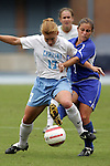 09 October 2005: North Carolina's Lori Chalupny (17) and Duke's Carmen Bognanno (2). The Duke Blue Devils defeated the #1 ranked Carolina Tar Heels 2-1 at Fetzer Field in Chapel Hill, North Carolina in a regular season Atlantic Coast Conference women's soccer game.