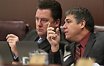 Nevada Assembly Democrats John Oceguera and Marcus Conklin talk in committee on Thursday, April 28, 2011, at the Legislature in Carson City, Nev. .Photo by Cathleen Allison