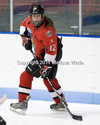 Maude Larance (OttawaPWHL - 12) - The Northeastern University Huskies defeated the visiting Ottawa Senators from the PWHL in an exhibition game on Friday, September 23, 2011, at Matthews Arena in Boston, Massachusetts.