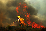 Members of the fire brigade work around the area where a fire burns in the Baixa Limia Serra do Geres Natural Park, in Lindoso north of Portugal, on August 10, 2010. (c)Pedro ARMESTRE