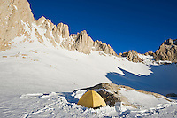 Winter campsite at Iceberg lake  (12,600 ft - 3850 m) on mountaineers route on Mount Whitney, Sierra Nevada mountains, California