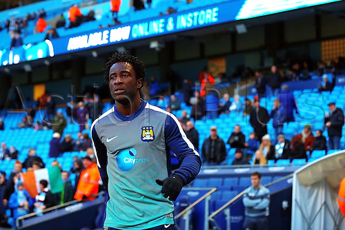 21.02.2015.  Manchester, England. Barclays Premier League. Manchester City versus Newcastle. Wilfried Bony of Manchester City comes out of the tunnell to warm up before the game where he intends to make his debut having signed from Swansea City