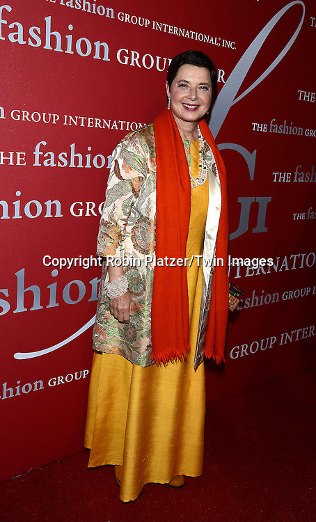 Isabella Rossellini attends the 31st Annual Night of Stars &quot;The Protagonists&quot;<br /> presented by The Fashion Grouip International on October 23, 2014 at Cipriani Wall Street in New York City. <br /> <br /> photo by Robin Platzer/Twin Images<br />  <br /> phone number 212-935-0770