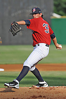 Elizabethton Twins starting pitcher Todd Van Steensel #35 delivers a pitch during  a game against the Bluefield Blue Jays at Joe O'Brien Field on June 21, 2011 in Elizabethton, Tennessee.  The game was delayed with the score 5-5.  (Tony Farlow/Four Seam Images)