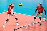 16.08.2019, …VB Arena, Bremen<br />Volleyball, LŠnderspiel / Laenderspiel, Deutschland vs. Polen<br /><br />Annahme Jennifer Geerties (#6 GER), Jana Franziska Poll (#5 GER)<br /><br />  Foto © nordphoto / Kurth