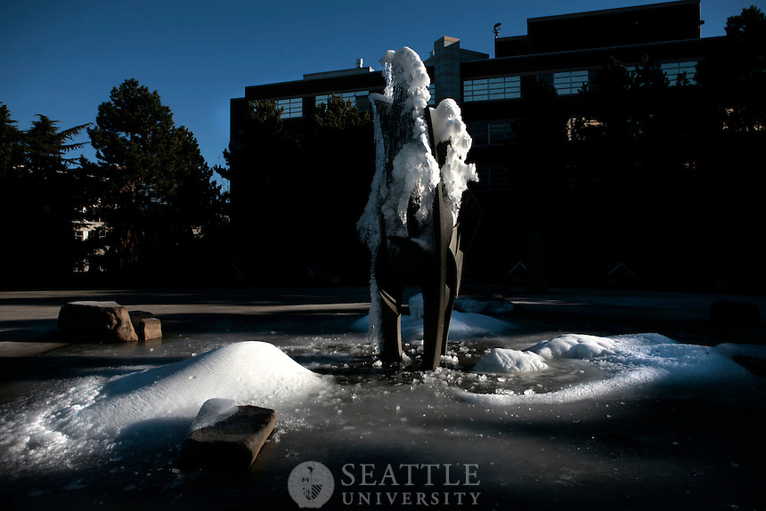 01032011 - The fountain located at Seattle University's Quad was iced over by cold weather the night before.