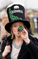 Racegoer wearing Guinness hat and drinking Guinness on St Patrick's Day at Cheltenham Races for the National Hunt Festival of Horseracing