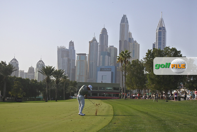 Thorbjorn Olesen (DEN) on the 16th during Round 4 of the Omega Dubai Desert Classic, Emirates Golf Club, Dubai,  United Arab Emirates. 27/01/2019<br /> Picture: Golffile | Thos Caffrey<br /> <br /> <br /> All photo usage must carry mandatory copyright credit (&copy; Golffile | Thos Caffrey)