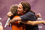 Spanish politician Monica Oltra and Pablo Iglesias kiss during the closing of the electoral campaign of Unidos Podemos. 24,06,2016. (ALTERPHOTOS/Rodrigo Jimenez)