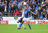 Cardiff City's Curtis Nelson battles with Swansea City's Rhian Brewster<br /> <br /> Photographer Ian Cook/CameraSport<br /> <br /> The EFL Sky Bet Championship - Cardiff City v Swansea City - Sunday 12th January 2020 - Cardiff City Stadium - Cardiff<br /> <br /> World Copyright © 2020 CameraSport. All rights reserved. 43 Linden Ave. Countesthorpe. Leicester. England. LE8 5PG - Tel: +44 (0) 116 277 4147 - admin@camerasport.com - www.camerasport.com