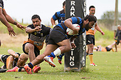 Elijah Koaneti bursts through the Te Kauwhata defenders to score next to the posts. Counties Manukau Premier Counties Power Club Rugby Round 2, Game of the Week, between Te Kauwhata and Onewhero, played at Te Kauwhata on Saturday March 17th 2018. <br /> Photo by Richard Spranger.<br /> <br /> Onewhero won the game 43 - 10 after leading 21 - 10 at halftime.<br /> Te Kauwhata EnviroWaste  10 - Lani Latu try,  Caleb Brown 1 conversion, Caleb Brown 1 penalty.<br /> Onewhero 43 - Jackson Orr 2, Ilaisa Koaneti 2, Vaughan Holdt, Zac Wootten, Rhain Strang tries, Vaughan Holdt 4 conversions.