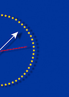 Clock ticking on European Union flag