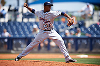 Lakeland Flying Tigers relief pitcher Gerson Moreno (36) delivers a pitch during a game against the Charlotte Stone Crabs on April 16, 2017 at Charlotte Sports Park in Port Charlotte, Florida.  Lakeland defeated Charlotte 4-2.  (Mike Janes/Four Seam Images)