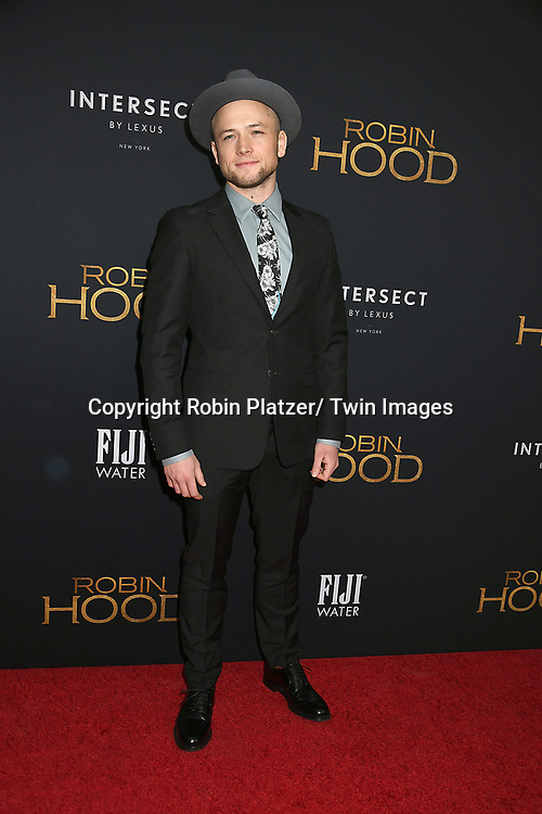 """Taron Egerton attends the New York Special Screening of """"Robin Hood"""" on November 11, 2018 at AMC Lincoln Square in New York, New York, USA.<br /> <br /> photo by Robin Platzer/Twin Images<br />  <br /> phone number 212-935-0770"""