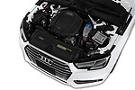 Car stock 2018 Audi A4 Premium 4 Door Sedan engine high angle detail view