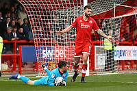 Glenn Morris of Crawley Town and Ollie Palmer (R) of Crawley Town during Crawley Town vs Grimsby Town, Sky Bet EFL League 2 Football at Broadfield Stadium on 9th March 2019
