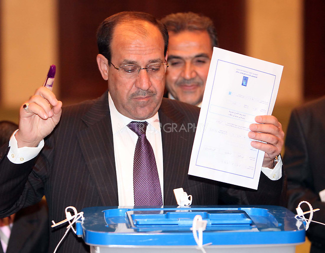 BAGHDAD, IRAQ:  Nouri Al-Maliki, the Iraqi Prime Minister, votes in Baghdad...On March 7th, 2010, Iraq held nationwide parliamentary elections.