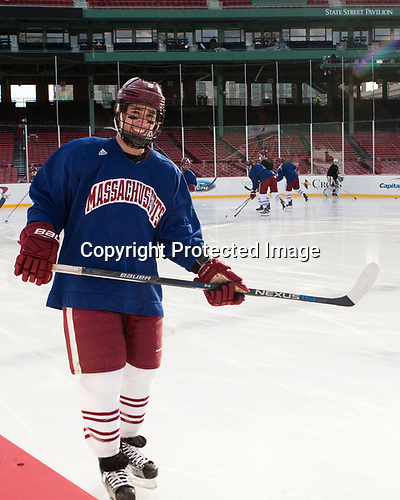 Anthony Petrella (UMass - 9) - The UMass Minutemen practiced at Fenway Park on Friday, January 6, 2017, in Boston, Massachusetts.