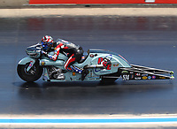 Jul 23, 2017; Morrison, CO, USA; NHRA pro stock motorcycle rider Cory Reed during the Mile High Nationals at Bandimere Speedway. Mandatory Credit: Mark J. Rebilas-USA TODAY Sports