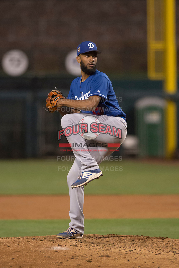Los Angeles Dodgers relief pitcher Andre Jackson (15) during a Minor League Spring Training game against the Seattle Mariners at Camelback Ranch on March 28, 2018 in Glendale, Arizona. (Zachary Lucy/Four Seam Images)