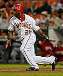 15 September 2007: Washington Nationals outfielder Wily Mo Pena in action against the Atlanta Braves at Robert F. Kennedy Memorial Stadium in Washington, DC. The Nationals defeated the Braves 7-4 in the second game of their 3-game series...Mandatory Photo Credit: Ed Wolfstein Photo