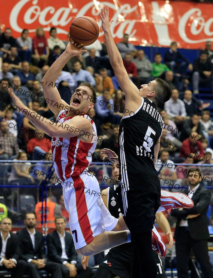 Kosarka ABA League season 2015-2016<br /> Crvena Zvezda v Partizan<br /> Gal Mekel and Petar Aranitovic (R)<br /> Beograd, 03.11.2015.<br /> foto: Srdjan Stevanovic/Starsportphoto&copy;