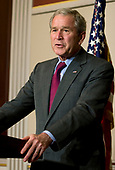 United States President George W. Bush speaks during a meeting with the Coalition for Affordable American Energy in the Eisenhower Executive Office Building in Washington, DC on August 12, 2008. <br /> Credit: Kristoffer Tripplaar / Pool via CNP