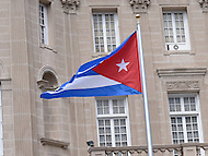 Washington, DC - July 20, 2015: The Cuban flag flies at the re-opened Embassy of Cuba In the District of Columbia July 20, 2015. The embassy reopened after the United States began normalizing diplomatic relations with Cuba. (Photo by Don Baxter/Media Images International)