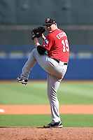 Frisco Rough Riders pitcher Jerad Eickhoff (19) delivers a pitch during the first game of a doubleheader against the Tulsa Drillers on May 29, 2014 at ONEOK Field in Tulsa, Oklahoma.  Frisco defeated Tulsa 13-4.  (Mike Janes/Four Seam Images)