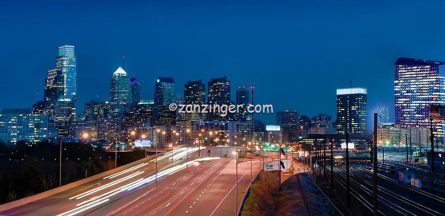 Philadelphia PA, skyline, reflections, View, Schuylkill, Panorama, Expressway, USA