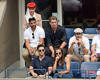 FLUSHING NY- SEPTEMBER 09: Oscar Isaac, Garrett Hedlund, Jon Hamm and Justin Bartha seen watching Novak Djokovic Vs Gael Monfils during the mens semi finals on Arthur Ashe Stadium at the USTA Billie Jean King National Tennis Center on September 9, 2016 in Flushing Queens. Credit: mpi04/MediaPunch