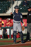 Matt Reitano (20) of the UC Irvine Anteaters during a game against the Southern California Trojans at Dedeaux Field on April 18, 2017 in Los Angeles, California. UC Irvine defeated Southern California, 14-3. (Larry Goren/Four Seam Images)