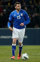 GENEBRA, SUICA, 21 DE MARCO DE 2013 -Andrea Barzagli jogador da Italia durante partida amistosa contra o Brasil, disputada em Genebra, na Suíça, nesta quinta-feira, 21. O jogo terminou 2 a 2. FOTO: PIXATHLON / BRAZIL PHOTO PRESS