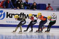"SHORT TRACK: MOSCOW: Speed Skating Centre ""Krylatskoe"", 13-03-2015, ISU World Short Track Speed Skating Championships 2015, Yui SAKAI (#040 | JPN), Sofia PROSVIRNOVA (#056 | RUS), Rianne DE VRIES (#050 | NED), Natallia TSAULIKA (#002 | BLR), ©photo Martin de Jong"