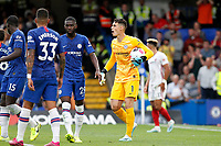 Kepa Arrizabalaga of Chelsea gees up his defence during the Premier League match between Chelsea and Sheff United at Stamford Bridge, London, England on 31 August 2019. Photo by Carlton Myrie / PRiME Media Images.