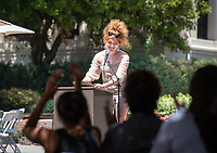 Student speaker Daphne Cancel '19. Graduating seniors, family, faculty, staff and alums gather for the Lavender Graduation Celebration, in the Academic Quad on Friday, May 17, 2019.<br />