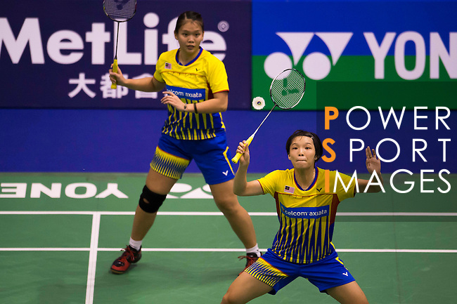 CHOW Mei Kuan (r) and Lee MENG YEAN of Malaysia in action while playing against BAO Yixin and YU Xiaohan of China vs  during the YONEX-SUNRISE Hong Kong Open Badminton Championships 2016 at the Hong Kong Coliseum on 23 November 2016 in Hong Kong, China. Photo by Marcio Rodrigo Machado / Power Sport Images