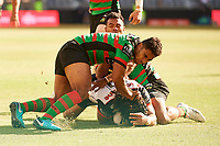 Isaiah Papali'i of the NZ Warriors dives for a try, Rabbitohs v Vodafone Warriors, NRL rugby league premiership. Optus Stadium, Perth, Western Australia. 10 March 2018. Copyright Image: Daniel Carson / www.photosport.nz