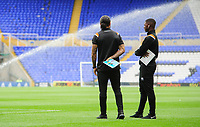 Blackpool's Joe Nuttall, left, and Blackpool's Sullay Kaikai on the pitch prior to the game<br /> <br /> Photographer Chris Vaughan/CameraSport<br /> <br /> The EFL Sky Bet League One - Coventry City v Blackpool - Saturday 7th September 2019 - St Andrew's - Birmingham<br /> <br /> World Copyright © 2019 CameraSport. All rights reserved. 43 Linden Ave. Countesthorpe. Leicester. England. LE8 5PG - Tel: +44 (0) 116 277 4147 - admin@camerasport.com - www.camerasport.com