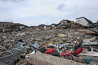 Mangled remain in town of Natori, after the earthquake and tsunami knocked out all mobile communications lines.  The Tsunami devastated ahe entire pacifc coastline of Japan after the earthquake and tsunami devastated the area Sendai, Japan.<br /><br />photo by Richard Jones/ sinopix