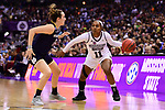 COLUMBUS, OH - APRIL 1: Roshunda Johnson #11 of the Mississippi State Bulldogs looks for an opening against Marina Mabrey #3 of the Notre Dame Fighting Irish during the championship game of the 2018 NCAA Division I Women's Basketball Final Four at Nationwide Arena in Columbus, Ohio. (Photo by Ben Solomon/NCAA Photos via Getty Images)